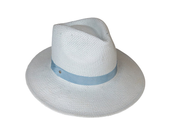 Sky Woven Paper Fedora with Pete Trim