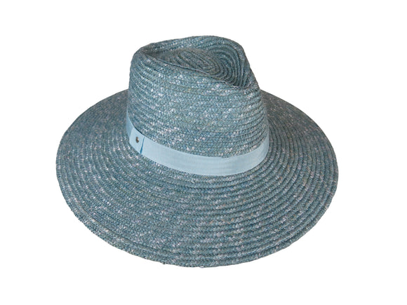 Ocean Blue Straw Braid Fedora