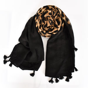 Bordered Leopard Scarf