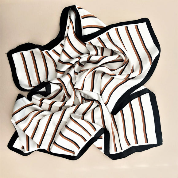 Contrast Stripe Faux Silk Scarf White/Tan