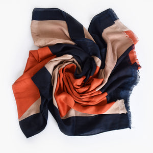 Abstract Rectangle Print Scarf Navy/ Orange