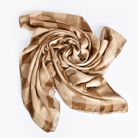 Large Check Scarf Camel/ Natural