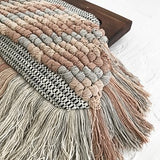 Knotted Panel Fringe Timber Frame Clutch Nude