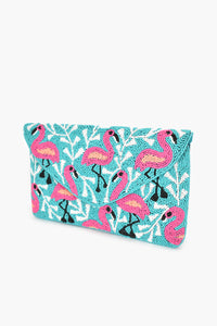 Beaded Flamingo Flap Over Clutch Teal/Pink