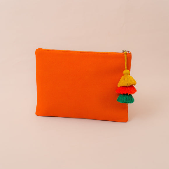 Tri Tassel Charm Faux Suede Clutch Orange