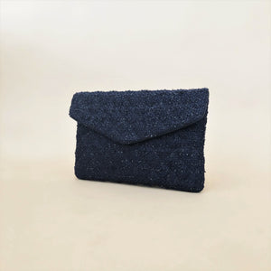 Quilted Boucle Flap Over Clutch Navy