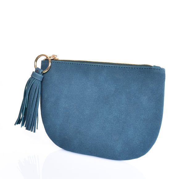 Suede Curved Clutch Petrol