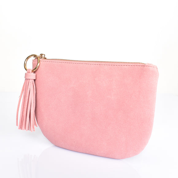 Suede Curved Clutch Pink