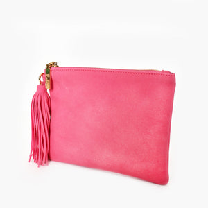 Faux Suede Tassel Pouch Hot Pink