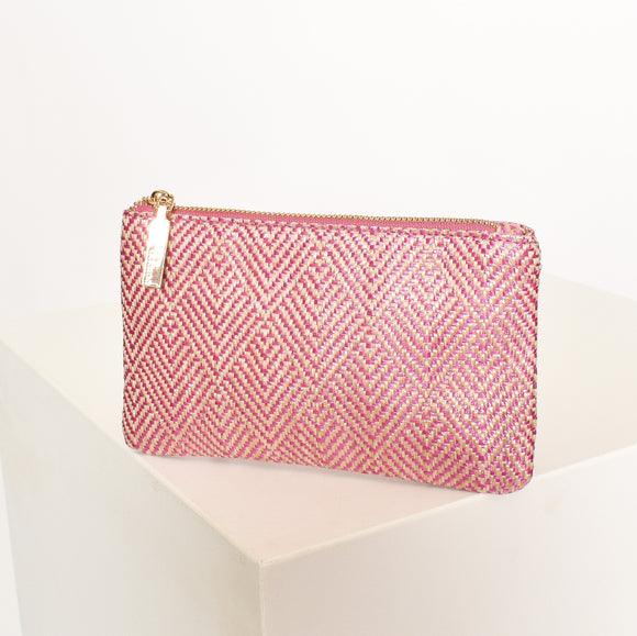 Clean Weave Zip Top Pouch Pink