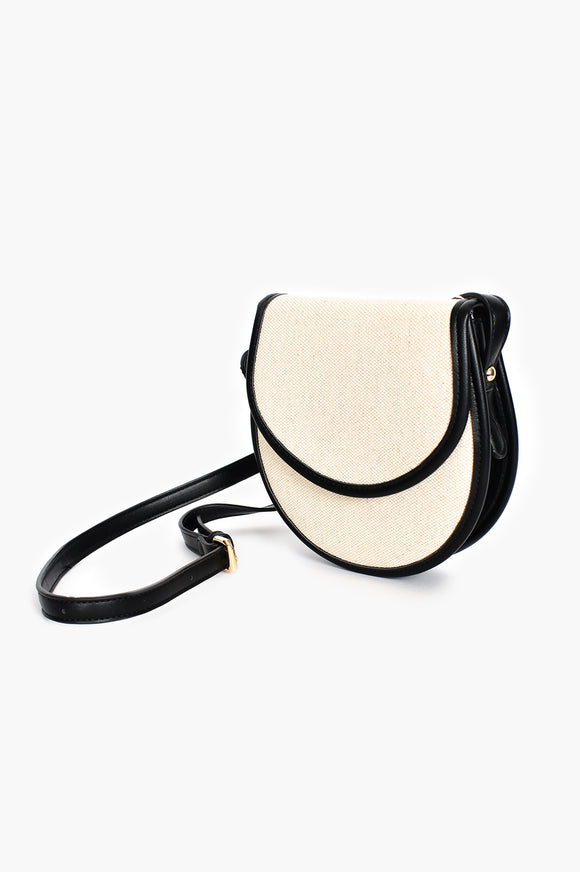Weave Flap Over Small Saddle Bag Natural Black