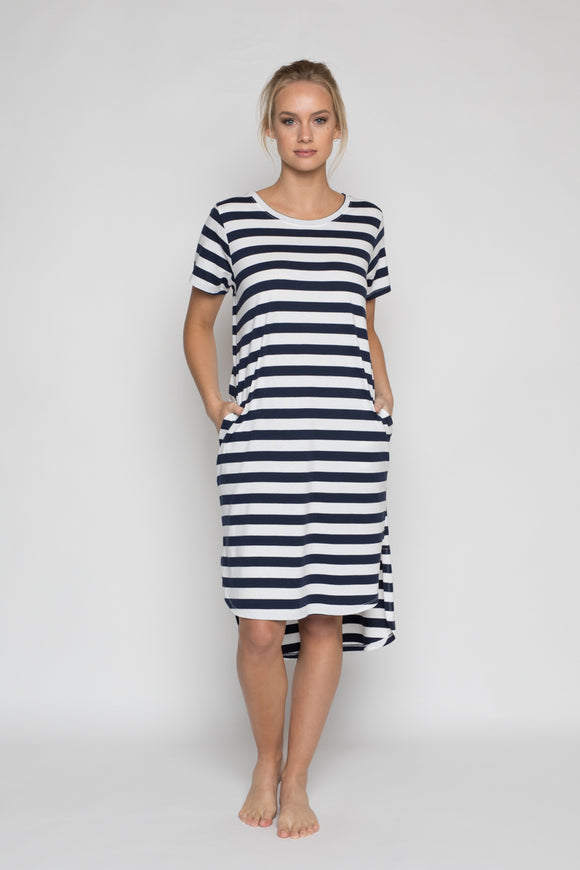 Daisy Dress Navy Stripe