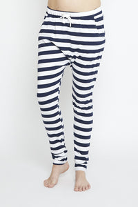 Luxe Drop Slouch Pant Navy Stripe