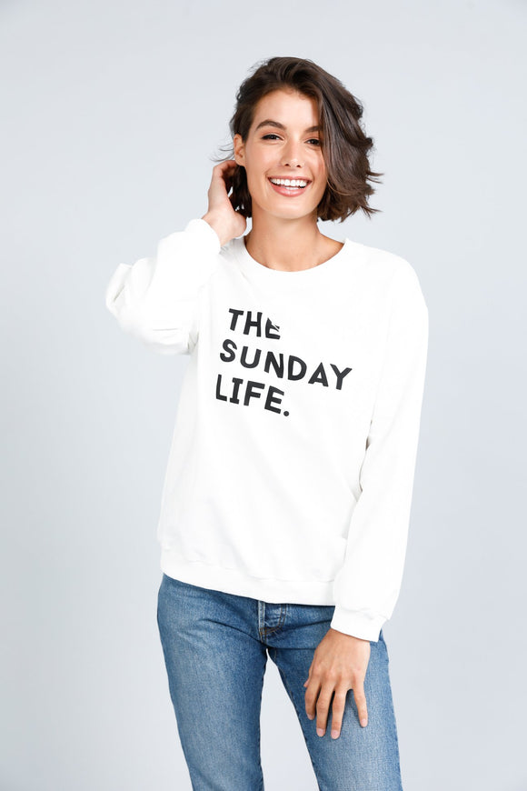 Sunday Life Henley Sweatshirt White