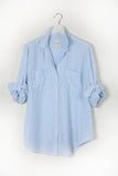 The Linen Boyfriend Shirt  Baby Blue/ White Stripe