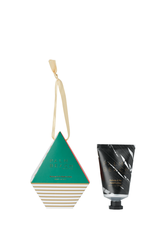 Palm Beach Christmas Balsam & Fir – hanging bauble hand lotion