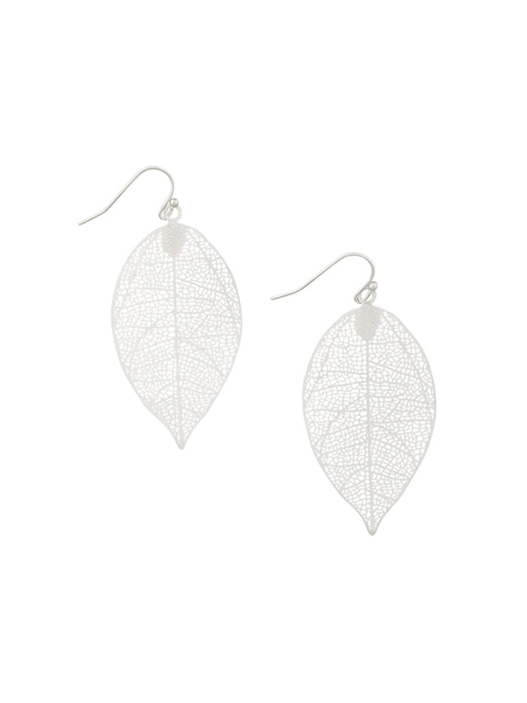 Small Silver Leaf Earrings