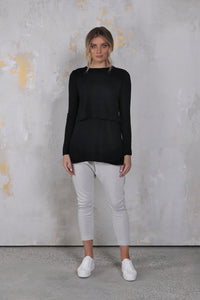 Hana Overlay Top Black