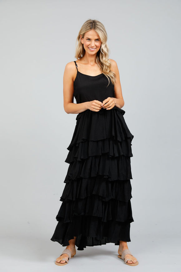 Paradise Ruffle Dress Black Moss Crepe