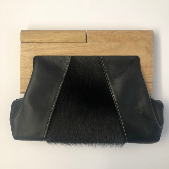 Black Leather & Hide Timber Clutch