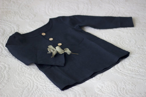 Linen Long Sleeve Boys Tee Navy