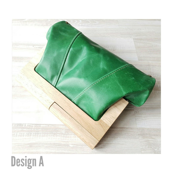 Emerald Leather Timber Clutch