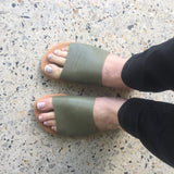 Leather Slide Olive