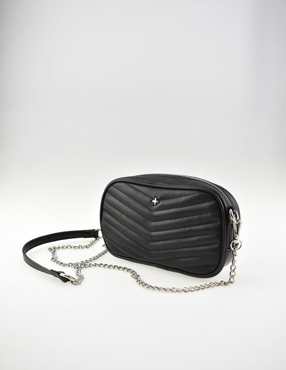 Josie Crossbody Bag Black Chevron Quilt