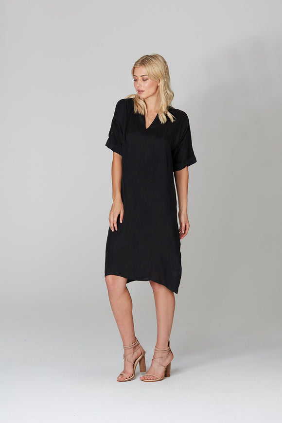 V Neck 1/2 Sleeve Dress Black