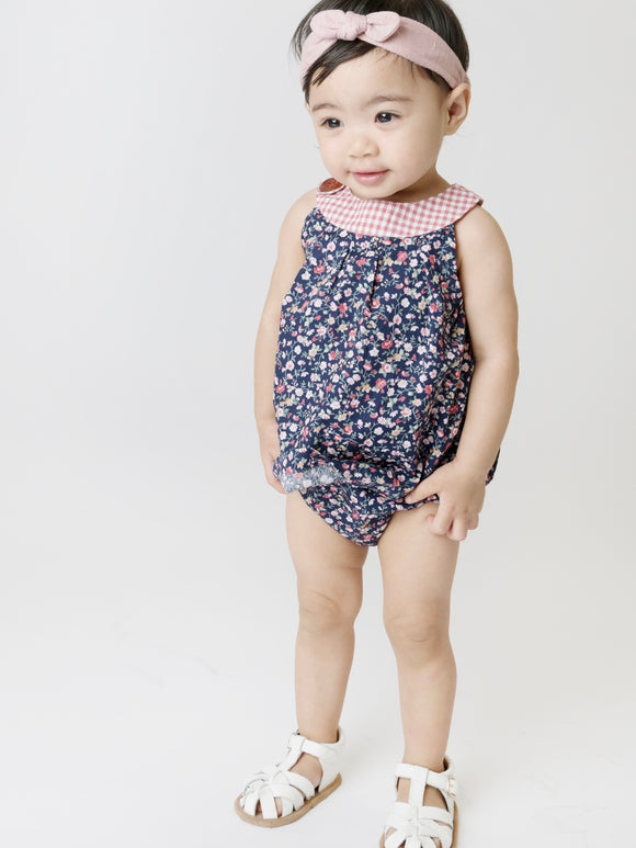 Baby Girls Sofia Playsuit Navy Floral