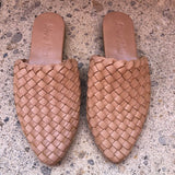 Leather Pointer Woven Loafer Slide Biscuit