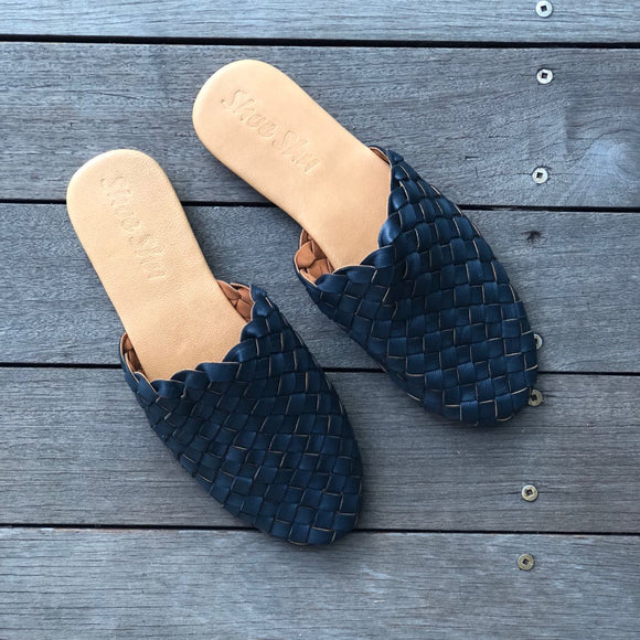 Leather Woven Loafer Slide Navy