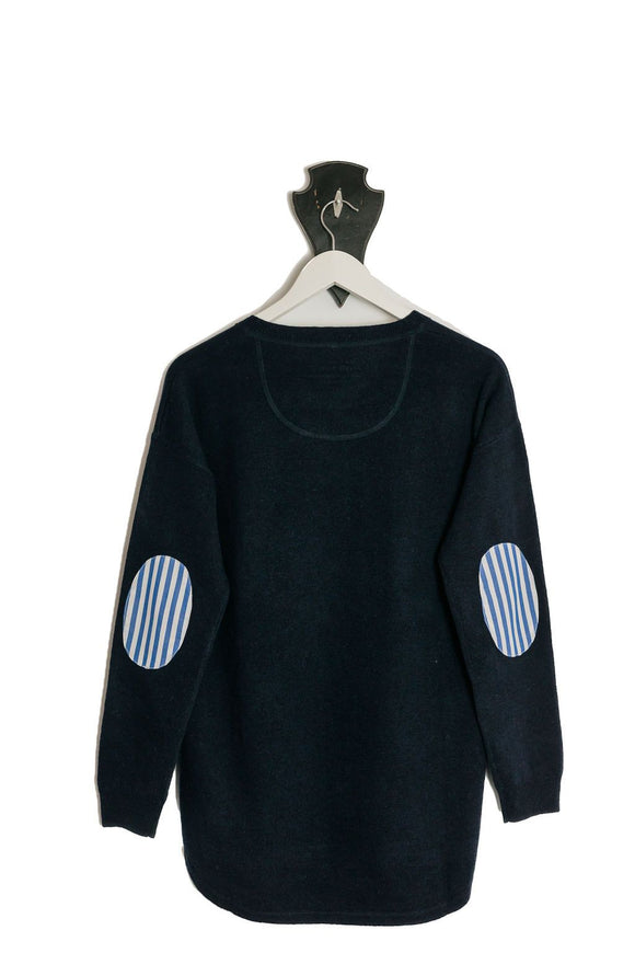 Navy Crew Neck Swing Blue White Stripe Patches