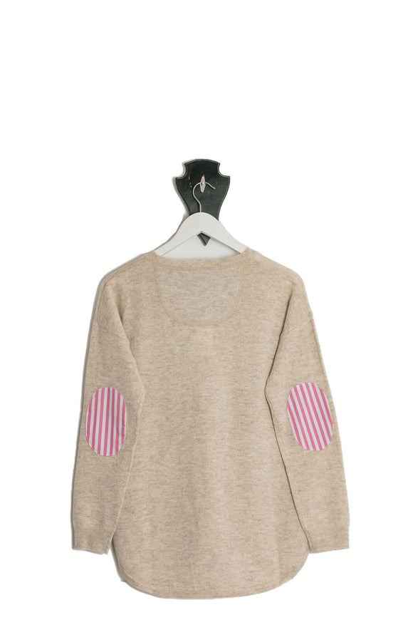 Almond Crew Neck Swing Pink White Stripe Patches