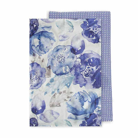 Bloom Blue Tea Towel Set 2