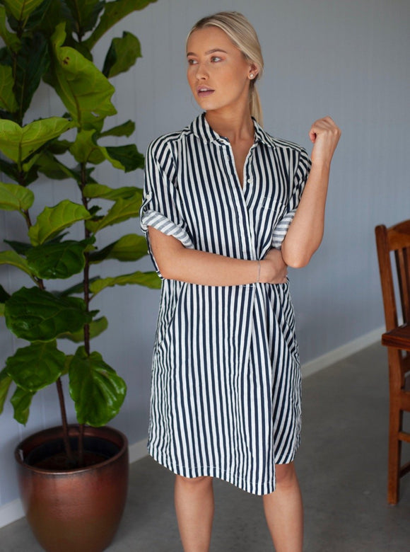 Popover Linen Dress Navy Stripes