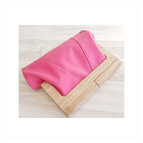 Magenta Leather Timber Clutch