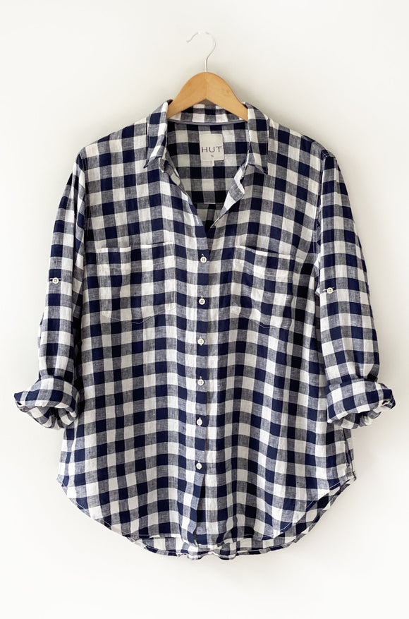 The Linen Boyfriend Shirt Large Navy Gingham