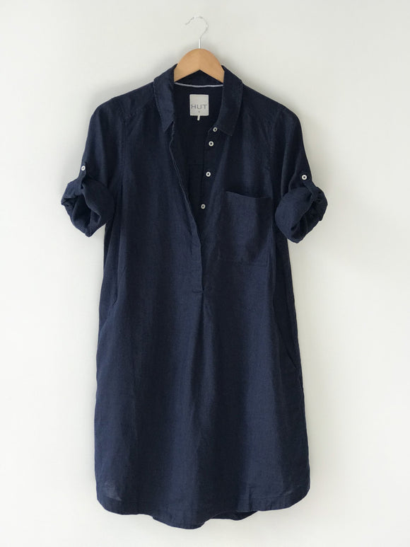 Popover Linen Dress Navy