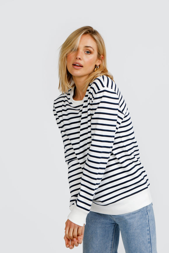 Striped Crew White