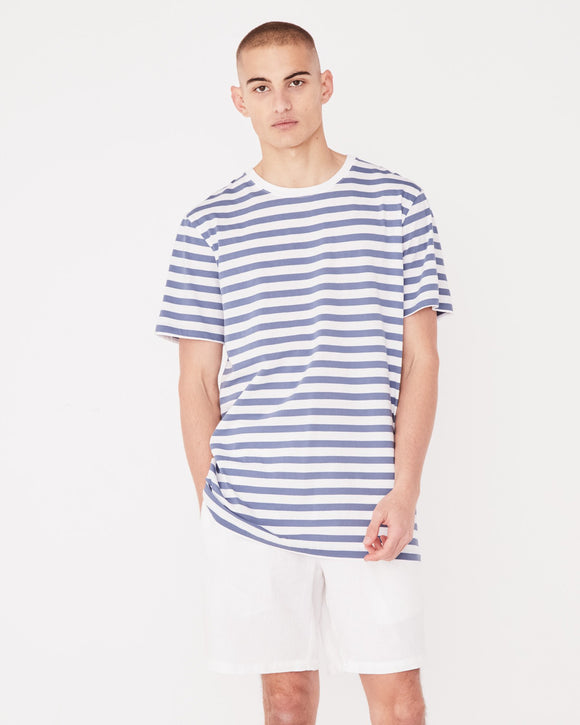 Mens Standard Tee Newport Blue Stripe