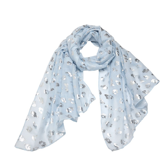 Powder Blue Serengeti Foil Scarf