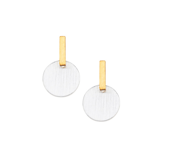 Bar Dot Earrings Gold Silver