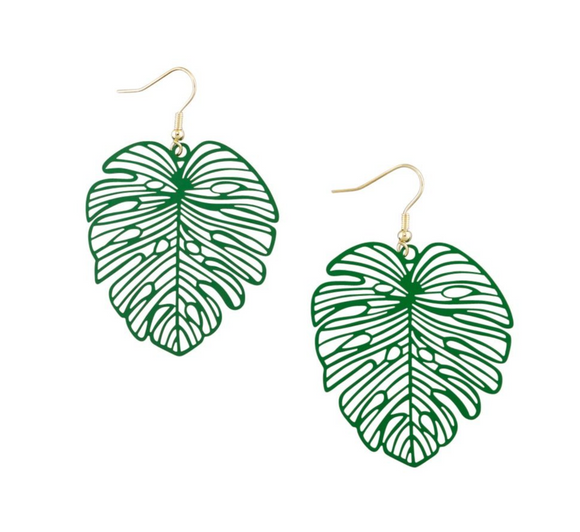 Go Green Monstera Earrings