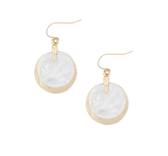 Gold & Silver Double Disc Earrings