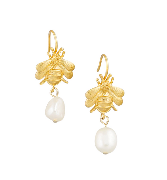 Gold Bee & Pearl Drop Earrings