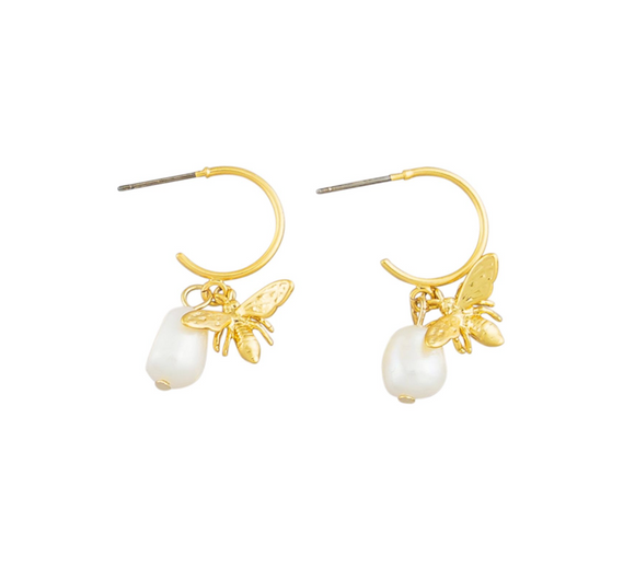 Queen Bee & Pearl Earrings