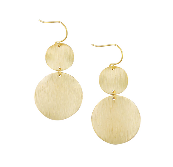 Gold Warped Double Disc Earrings