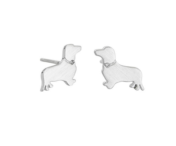 Sausage Dog Earrings Silver