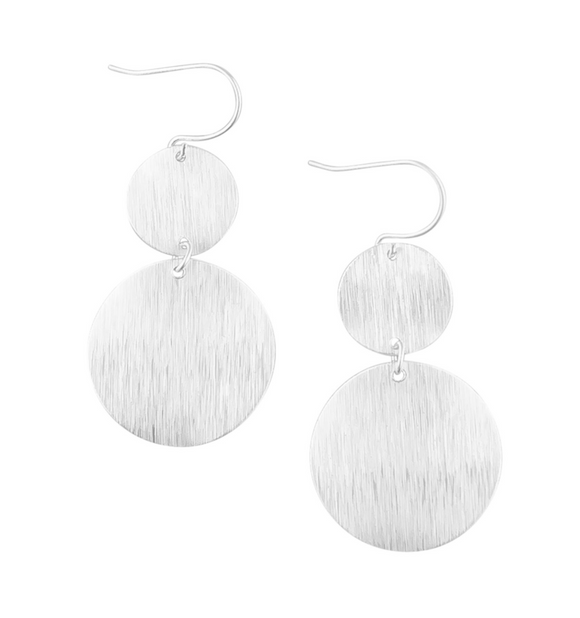 Silver Warped Double Disc Earrings